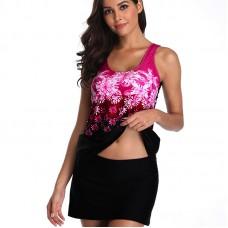 aa18e724b4eba Купальник топ+юбка ODS XXXL (9020) Черный с розовыми цветами